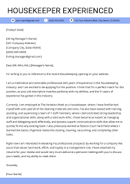 Housekeeping Cover Letter Sample Resume Genius