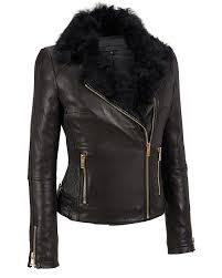 women leather asymmetrical cinch side leather cycle jacket with fur collar1
