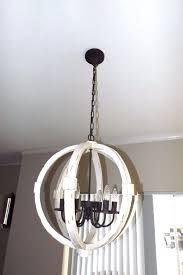 details about new in box wood metal globe orb chandelier distressed white wash 22 5 6 light