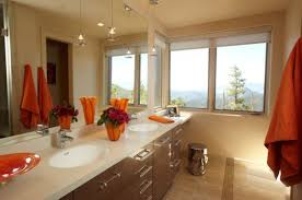 ... Towels and accessories are a simple way to add accent color to a  neutral bathroom space