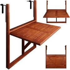 Image is loading Wooden-Balcony-Table-Folding-Wall-Hanging-Decking-New-