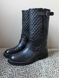 chanel quilted boots. chanel quilted motorcycle boots profile photo 2