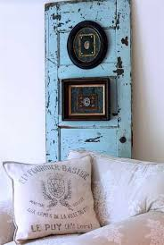 recycling old wooden door wall decor blue painted decorated picture frames