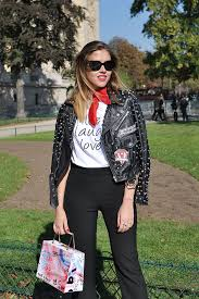 fashion blogger amy ramirez during paris fashion week you can follow amy s blog toks over here amy is wearing zara studded biker jacket and pants