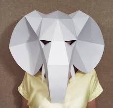 elephant head mask diy paper creation pdf pattern printable animal face mask best costume papercraft elephant party costume low poly