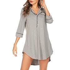 Walmart Womens Size Chart Lelinta Nightgown Women V Neck Nightshirt Boyfriend Sleep Shirt 3 4 Sleeve Button Sleepwear S Xxl