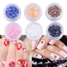 6 Bottles/Set Mixed Resin Semicircle Beads Nail Decorations 3D ...