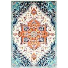 blue and orange rug 6 ft 7 in x 9 encarnacion green indoor outdoor area blue and orange rug teal burnt area rugby