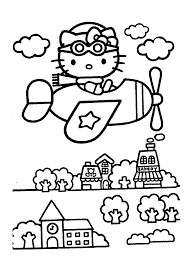 Hello Kitty On Airplain Coloring Pages