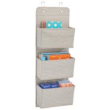 wall mount office organizer. amazoncom mdesign wall mountover the door fabric office supplies storage organizer for notebooks planners file folders 3 pockets taupenatural mount r