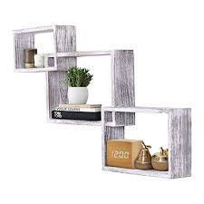 rustic wall mounted tier square shaped floating shelves set of 3 s and anchors included farmhouse wooden shelves for bedroom living room and