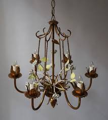 italian brass chandelier with porcelain flowers for 1