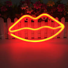 Wanxing Lip Shaped Neon Signs Led Neon Light Art Decorative Lights Wall Decor For Children Baby Room Christmas Wedding Party Decoration Red