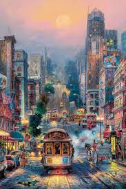 san francisco eeuu powell street by cao yong golden coast series san francisco cable car this wouldn t be my usual painting i would like