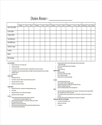 Duty Roster Template 8 Free Word Excel Pdf Document
