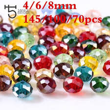 <b>4</b>/<b>6</b>/<b>8mm</b> Czech <b>Crystal</b> Glass Beads <b>for</b> Jewelry Making Faceted AB ...