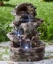 Lighted Water Fountain Outdoor Decor Water Fountain Led Lighted 4 Tier Cascade Waterfall Indoor
