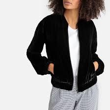 <b>Куртка</b>-<b>бомбер</b> из велюра на молнии, прямой покрой черный <b>La</b> ...
