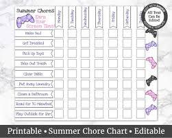 Summer Chore Chart Kids Chore Charts Chore List For Kids Edit Yourself Earn Your Screen Time Custom Chore Chart
