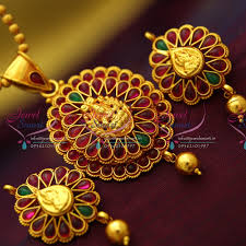 ps3458 red gold plated kemp stones south indian traditional temple nakshi pendant set
