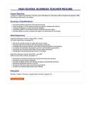 Objective For High School Resumes 2 High School Business Teacher Resume Samples