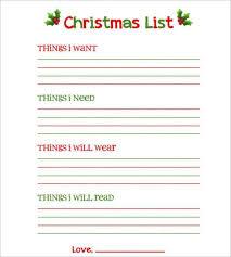 Blank Christmas List Santa Gift Exchange List Templates 7 Free Printable Xlsx