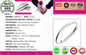 whole jewelry round glossy chaise woman child fashion exquisite bangles 925 sterling silver bracelet adjule