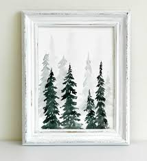 watercolor pine trees painting tutorial