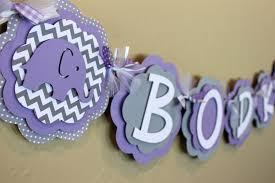 Lavender Baby Shower Decorations Elephant Chevron Stripe And Polka Dot Its A Girl Or Name