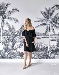 Met Dit Behang Met Tropisch Landschap Met Palmbomen In Zwart En Wit