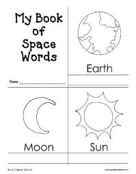best planets preschool ideas space theme my book of space words printable book printable atoztea