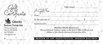 Gift Certificates For Your Business Obp Gift Positively Oberlin