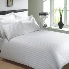 details about egyptian cotton 400 thread classic stripe white king size duvet cover