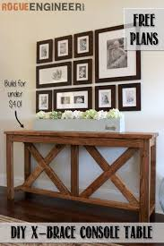 lovely diy sofa table plans diy x brace console table free plans