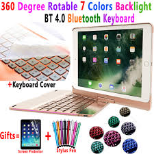 <b>360 Degree Rotable 7</b> Colors Backlit Bluetooth Keyboard Smart PC ...