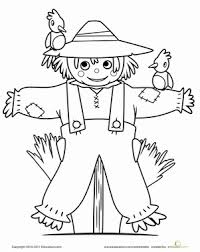 Small Picture Cute Scarecrow Worksheet Educationcom