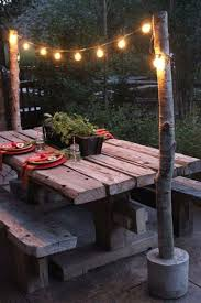 string light diy ideas cool home. Cool Outdoor String Light Pole With Diy Poles Concrete Bases Ideas Home