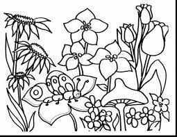 Spring Coloring Pages Butterfly Flowers Coloringstar Inside Keysub