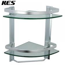 kes bathroom 2 tier corner glass shelf with wide rail and towel bar hanger aluminum frame