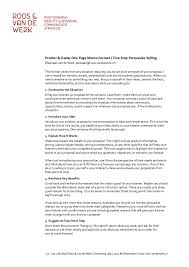 Procter Gamble 5 Step Persuasive Selling One Page Memo