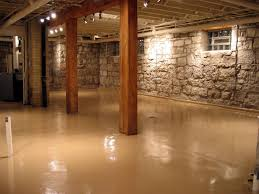 basement concrete wall paint and lighting
