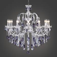 crystal chandelier with purple and clear crystal
