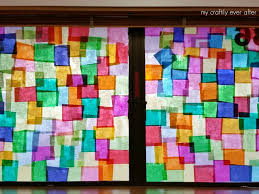 faux stained glass windows in the classroom