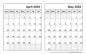 School Calendar Template 2020 17 April May 2020 Calendar