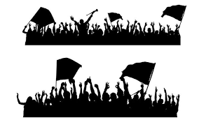 sports fans cheering silhouette. sports crowd silhouette clipart fans cheering