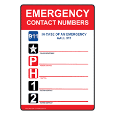 emergency contact template emergency contact numbers 911 sign nhe 14095 emergency contact 911