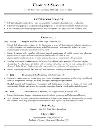 event coordinator cv example