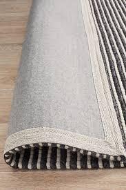 kibaya felted wool striped rug black white
