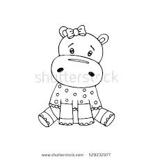 Cute Hippo Coloring Pages Comfortable Hippopotamus Coloring Page