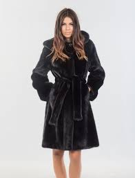 nafa velvet black mink fur jacket with hood